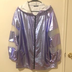 SHEIN Transparent Metallic Rain Jacket